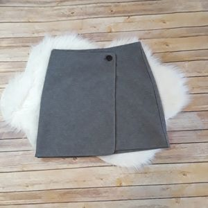 LOFT Button Wrap Career Business Gray Skirt